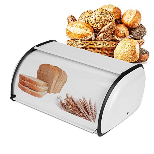 Bread Box Large Capacity Stainless Steel Bread Box Holder Bin Container Kitchen Food Storage Organizer for Bread Loaf Dinner Rolls Pastries01