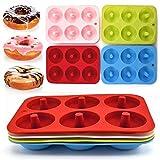 Paquete de 4 moldes de silicona antiadherentes con 6 cavidades,sin BPA, fáciles hornear,tamaño completo,con hornear donuts forma perfecta para hornear donuts forma perfecta rosquillas galletas