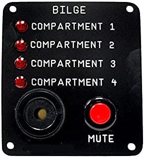 Skippers Four Compartment Bilge Alarm Panel, Customized Text, 12 v