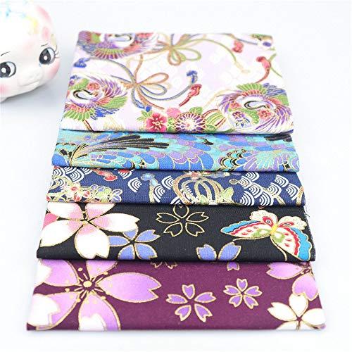 Nicole Knupfer Juego de 5 telas de algodón para patchwork, por metros, tela para coser, estilo japonés, flores y restos de tela, paquete de tela, paño de algodón DIY (diámetro: 48 x 50 cm)