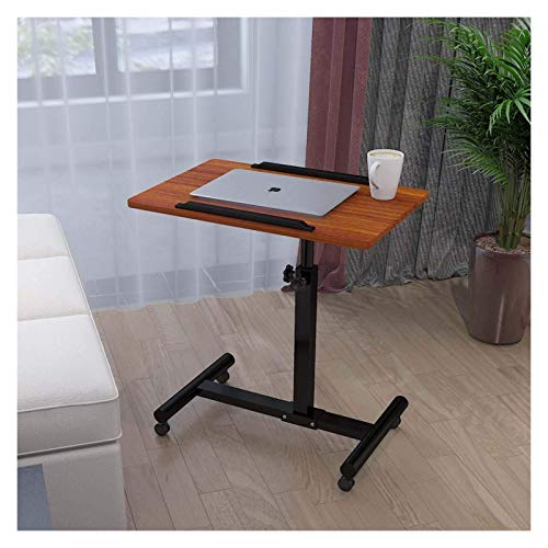 Movable Computer Desk Height Adjustable Laptop Table Portable Mobile Desk Coffee Table Side Table For Small Space Computer Workstations For Home Office Bedroom (Color : Brown Small)