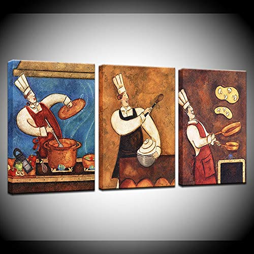 HUKUP Artwork Pasta Chef The Restaurant Personality Cook Oil Painting Bakery Kitchen 3panel Poster Art Wall Print Picture Canvas Painting