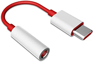 Priefy Type C to 3.5mm Splitter Compatible for One Plus 6T Only (Red and White)