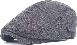 JAUROUXIYUJI New Fashion Beret Cap Autumn Winter Wool Ladies Cotton Middle-Aged Simple Forward Cap Men's (Color : Black, Size : 56-58CM)