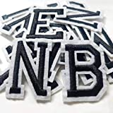 Iron on Letter Patches 52 Pieces,White Letter Patches Alphabet Embroidered Patch A-Z,for Hats Shirts Jeans Bags Black