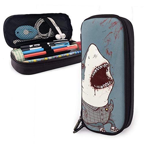 ZhaXiPingCuo Shark Wearing Plaid Shirt Cute Pen Mäppchen Leather Big Capacity Double Zippers Pencil Pouch Bag Pen Holder Box for School Office Girls Boys Adults