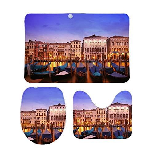 happygoluck1y Set di 3 tappetini da bagno e tappetini da bagno Moon Over Venice City Set di tappetini da bagno antiscivolo assorbenti per il bagno