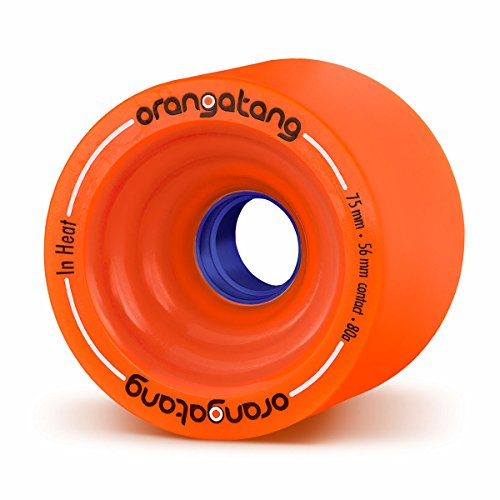 Orangatang in Heat 75 mm 80a Downhill Longboard Skateboard Cruising Wheels (Orange, Set of 4)