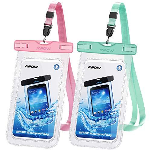 Mpow wasserdichte Handyhülle 2 Stücke, Handytasche Wasserdicht, Staubdichte Schutzhülle für iPhone 11/iPhone X/XR/XS/XS MAX/8/7/6/6s/6splus/Galaxy S20/S9/S8/S7/S7edge/S6/S, P10/P9 usw. bis 6,5 Zoll