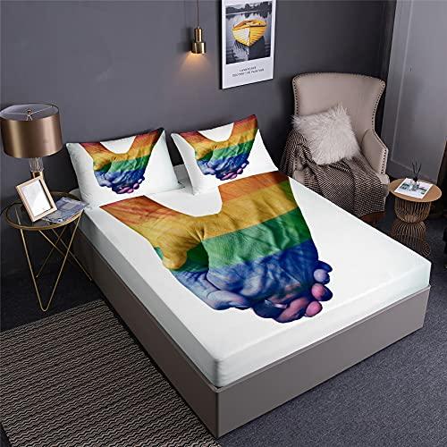 DDD PLUS Banner del Giorno LGBT Bandiera dei Cuori Arcobaleno LGBT Lenzuolo sotto con Angoli per Uomini E Donne con Federas LGBT Set Biancheria Letto di Lenzuola 3 PCS (C,Matrimoniale:140x200x35cm)
