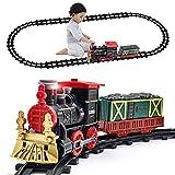 Tren Kit Juguete para Niños Clasico Tren Electrico Locomotora de Vapor, vagón de Carga Humo, Luces & Sonido, Ferrocarril Kit Juguetes Regalo para Niños