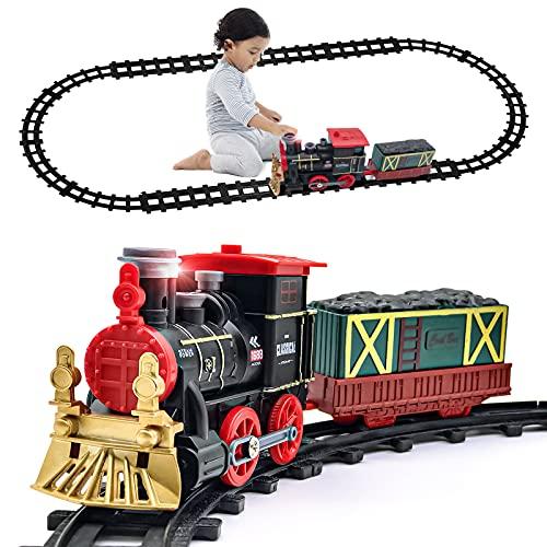Tren Kit Juguete para Niños Clasico Tren Electrico Locomotora de Vapor, vagón de Carga Humo, Luces...