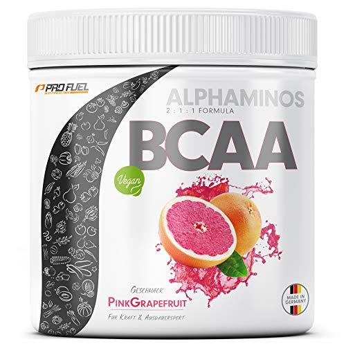 BCAA Pulver 300g - TESTSIEGER - ALPHAMINOS BCAA 2:1:1 - Das ORIGINAL von ProFuel | Essentielle Aminosäuren | Unfassbar leckerer Geschmack (Pink Grapefruit)