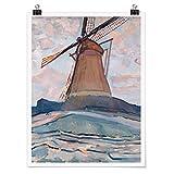 Bilderwelten Poster Cuadro Decoracion de Pared Piet Mondrian - Windmill, Mate 80 x 60cm