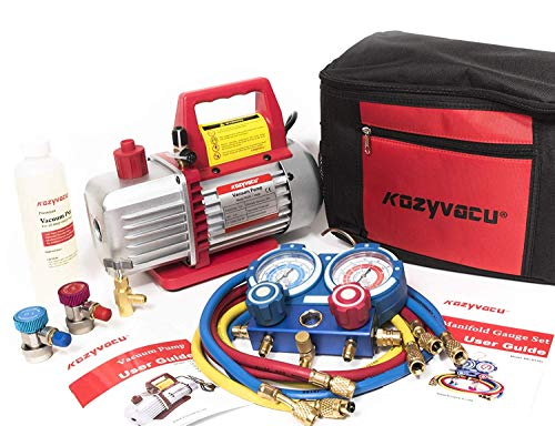 Kozyvacu AUTO AC Repair Complete Tool Kit with 1-Stage 3.5 CFM Vacuum Pump, Manifold Gauge Set, Hoses and its...