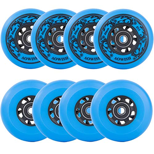 AOWISH 8-Pack Asphalt Outdoor Inline Hockey Wheels 85A Blades Roller Skates Replacement Wheel with Speed Bearings ABEC-9 and Spacers (Blue, 80mm)