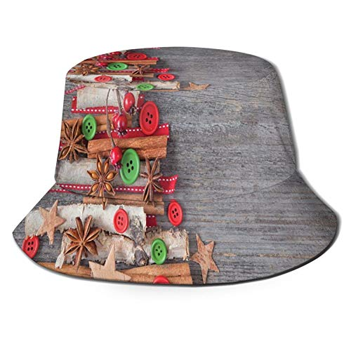 Sun hat Bucket Type Men's and Women's Folding Fisherman's hat,Abstract Cloth Style Tree Concept with Buttons Star Tree Topper Wooden Backdrop,Beach Hat Sun Protection