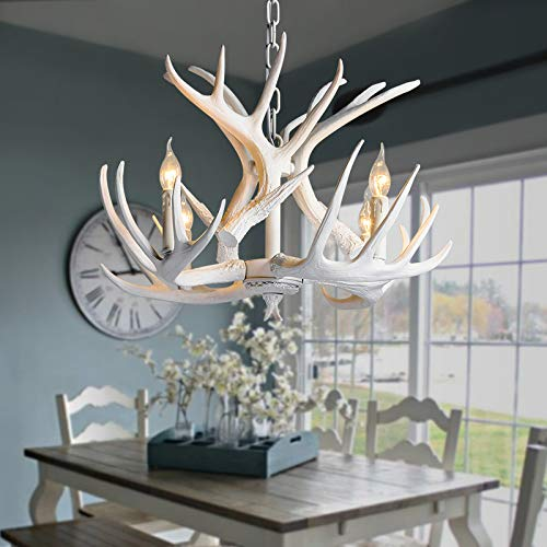 NIUYAO Retro Farmhouse Candle Style Resin Deer Antler White Chandeliers Faux Antler Fixture 4 Light Matching Chain Creative Pendant Light for Living Room Restaurant Bar Cafe Dining Rooms 494843