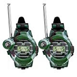 2 Pcs Reloj Walkie Talkies para Los Niños De Largo Alcance Radio De Dos Vías del Ejército del Aire Libre Juguetes 150 Metros