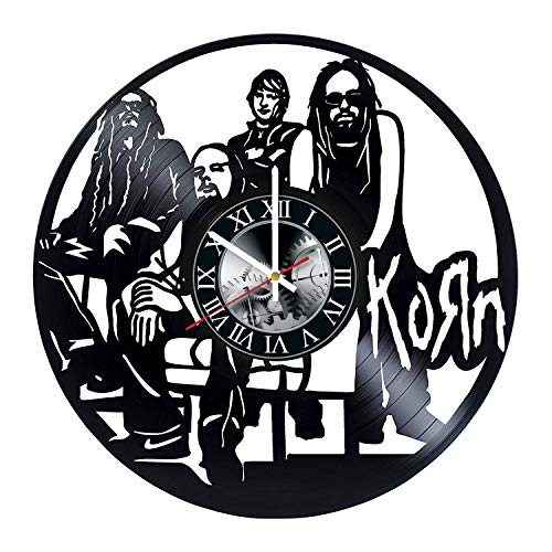 Korn Fan Art Vinyl Record Wall Clock - Get Unique Bedroom or Kitchen Wall Decor - Gift Ideas for Boys and Girls Best Rock Music Band Unique Modern Art