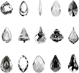 SunAngel Clear Jewelry Crystals Pendants &Chandelier Lamp Lighting Drops Prisms Hanging Glass Prisms Parts Suncatchers Prisms Hanging Ornaments for Home,Office,Garden Decoration(15 Packs)