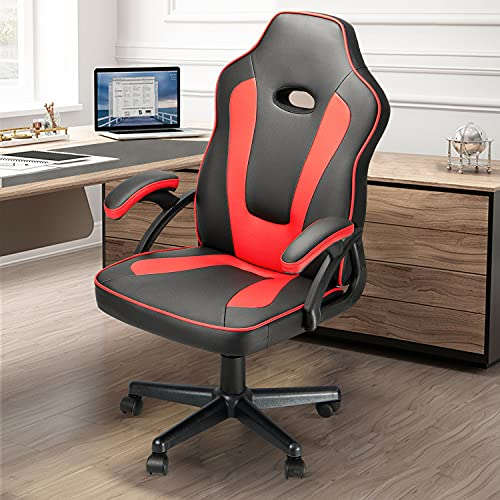 Ninecer Ergonomic Gaming Chair Cheap, Racing Style High Back Office Chair Computer Chair, PU Material with Padded Armrests and Height Adjustment Video Game Chair (Red)