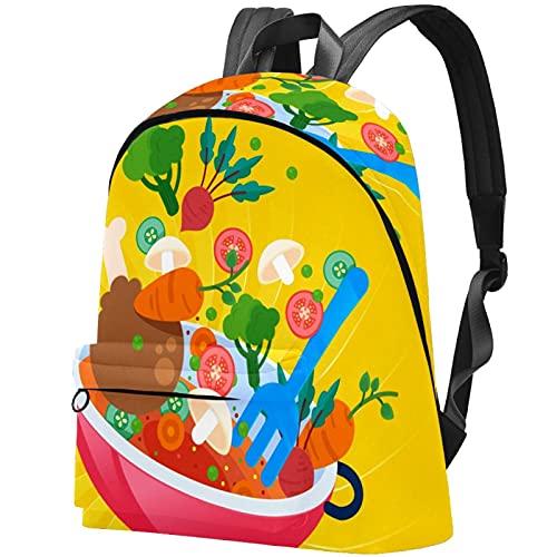 Rucksack Damen Daypack Schulrucksack mit,Uni Büro Freizeit Arbeit Schule Lustige Cartoon Vegrtables Kochtopf Gasherd