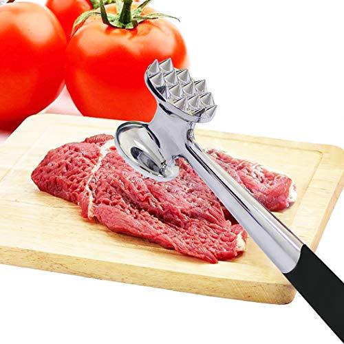 ALEENFOON Mazo de metal resistente para carne de acero inoxidable con diseño de doble cara, 22,5 cm