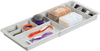 mDesign Adjustable/Expandable Plastic Drawer Organizer Tray for Bathroom Vanity, Countertop for Toothbrush, Toothpaste, First Aid, Ointment, Adhesive Bandages, Makeup - 7 Compartments - Light Gray