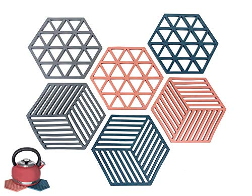Silicone Trivet Mats and Hot Pads, Set of 6 Brimley Heat Resistant, Non-Slip Pot Holders