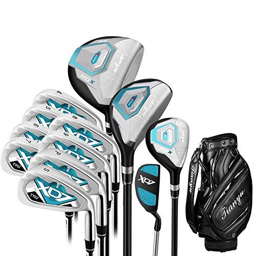 Wangxiaoxia-Sports Golf Eisen 12 Stück Golf Club Set Frauen Golf Anfänger Bule Golf Putter Golf Practice Club Set Für Damen Mit Handschuhen Golfeisen für Anfänger Oder Erfahrene Spieler