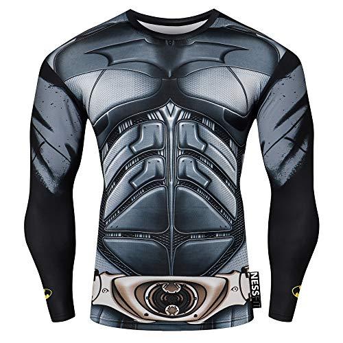 Nessfit Superhero Mens Compressione Top Manica Lunga Palestra Base Layer Allenamento Fitness Maglia Maglia Allenamento Termica (Batman PRO, Large)
