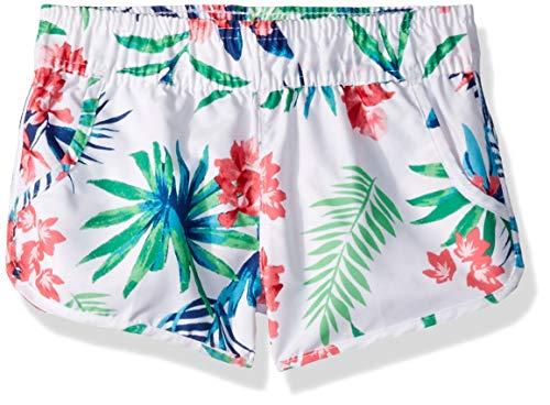 Kanu Surf Girls' Big Sandy UPF 50+ Quick Dry Beach Elastic Waist Boardshort, Leonie White Floral, Small (7)