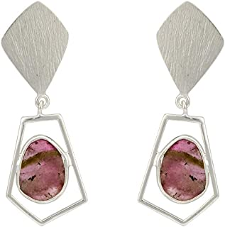 Jewel Cartel Distinct Watermelon Tourmaline and 925 Sterling Silver Earrings for Women and Girls