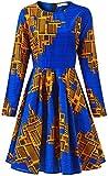 Shenolen Women African Print Dresses Ankara Long Sleeve Dress(A,XX-Large)