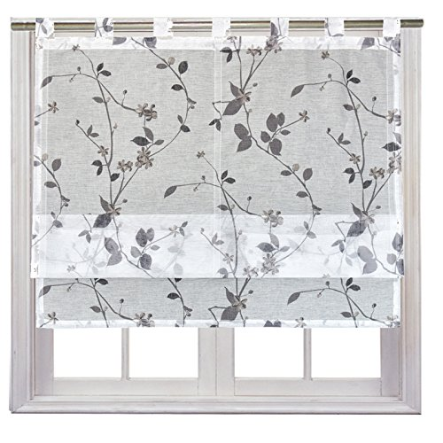 JEMIDI Raffrollo Luisa transparent Blüten Raffgardine Fensterrollo Schlaufenrollo Schlaufen Scheibengardine Vorhang Dekogardine Weiß 100cm x 140cm