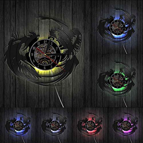 hxjie Reloj de Pared de Vinilo, diseño rústico Vintage, Pelea de gallos, Reloj de Pared, Arte Animal, decoración de Cocina y Comedor con LED
