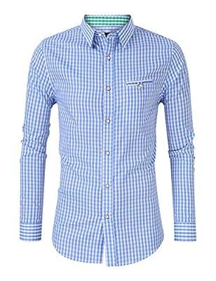 GloryStar Men's German Bavarian Oktoberfest Button Down Dress Shirts Slim Fit Plaid Shirt for Lederhosen