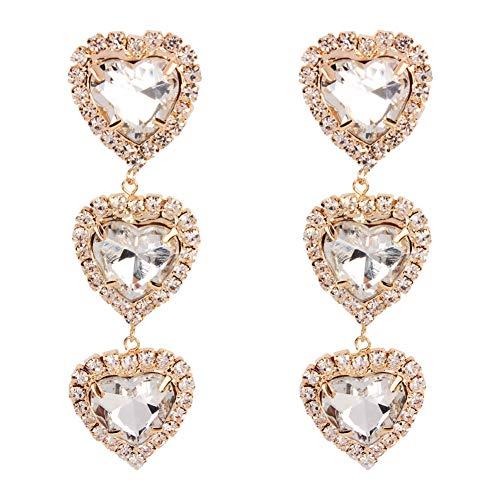 Pangding oorbellen, modesieraad voor dames drie oorbellen in hartvorm met strass-steentjes