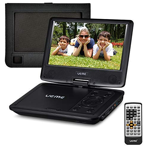 UEME Portable DVD Player with 9 inches Swivel Screen, Car Headrest Mount Holder, Remote Control, AC Adapter, Car Charger, Built-in Rechargeable Battery Mobile DVD Player (Black)