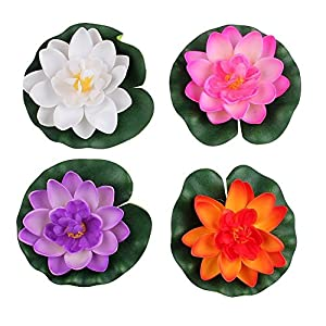 Wowlife 4 Pieces Artificial Floating Water Lily/Lotus Foam Flower Pond Decor