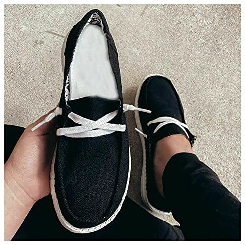 Xingying Men's Canvas Sneakers Breathable Fashion Lace Up Flat Trainers Casual Comfy Trendy Shoes One Size