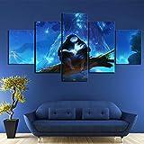 lvpanle5 Axqisql Artwork Canvas Art for Wall Decor 5 P HD Fantasy Art Cartoon Wall Pictures Ori and...