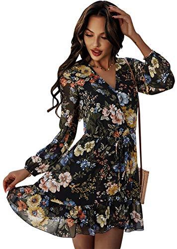 ZIYYOOHY Damen Minikleid Boho Blumen-Muster Langarm V-Ausschnitt Chiffonkleid Casual Blusenkleid Sommerkleid Strandkleider (Schwarz-012, M, Numeric_38)