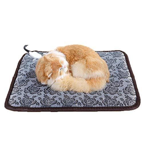 JIEZ Almohadilla térmica para Mascotas Grande, Almohadilla térmica eléctrica para Perros y Gatos, Alfombrilla calefactora Ajustable Impermeable para Interiores con Cable de Acero Resist