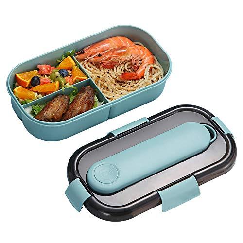 Caja Bento Con Cubiertos, ZoneYan Fiambrera Caja de Almuerzo para Microondas, Bento Box Con 3 Compartimentos y Cubiertos, Cuchara Tenedor Lonchera, Caja de Bento(Azul y Rosa) (azul)