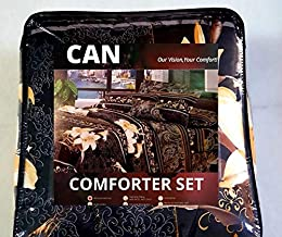 Sponsored Ad – Comforter Set, Amazing Black Floral Print, CAN, Bed In A Bag, Comforter Bedding Set. (Double(220X240 cm))