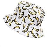Jazmiu - Sombrero unisex divertido con dibujos de frutas, sombrero de pescador para actividades al aire libre, reversible Ba Blanco Taille unique