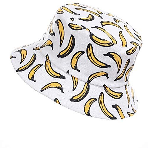 Jazmiu - Sombrero unisex, tipo pescador, de moda, estampado con dibujos de frutas, ideal para actividades al aire libre, reversible, se puede doblar para guardar Ba Blanco Taille unique