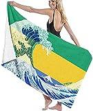 LUYIQ Mikrofaser Strandtuch,Gabun Flagge,groß 130x80 cm,Tragbar Sand Proof Ultraleicht,Strandtuch Bunt für Männer & Frauen,Super Saugfähig Schnell Trocknend